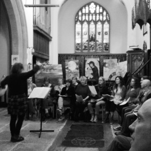 The Wing-It Singers rehearsing at St Mary's Old Church
