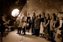 Altos and sopranos singing in sepia